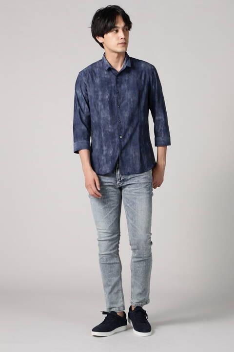 HIGH STREET∴デニムプリントショートウイング7分袖シャツ