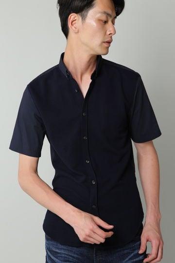 HIGH STREET∴ブロックニットコンビ半袖シャツ