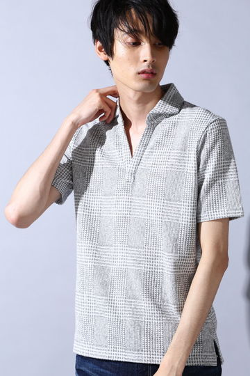 HIGH STREET∴グレンチェック柄スキッパーポロシャツ
