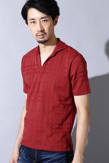 HIGH STREET∴チェックジャガード半袖スキッパーポロシャツ