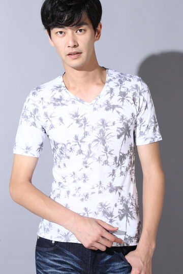 HIGH STREET∴総柄ヤシプリントTシャツ