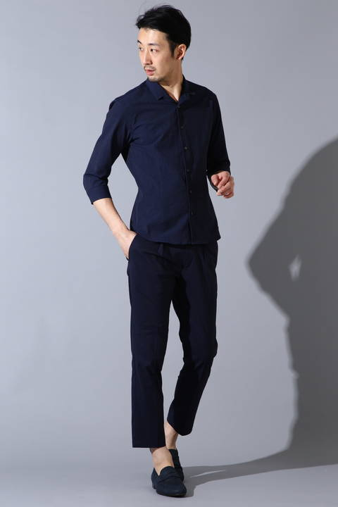 HIGH STREET∴SOMELOSシアサッカー七分袖シャツ