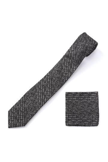 HIGH STREET∴グレンチェックチーフ付ネクタイ
