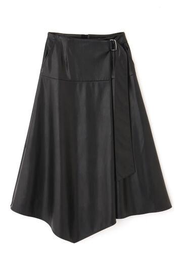 【先行予約 10月上旬-中旬入荷予定】フェイクレザーフレアスカート