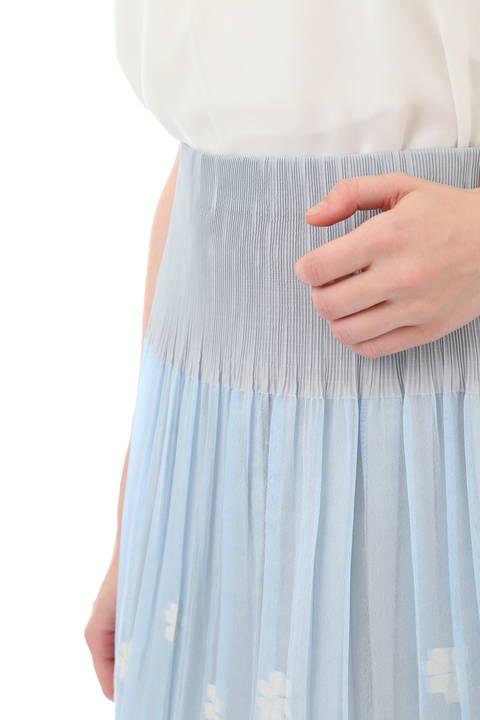 フラワージャガード×無地カラースカート