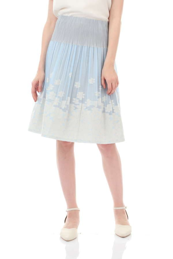 【先行予約 5月下旬 入荷予定】フラワージャガード×無地カラースカート