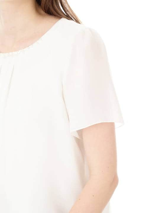 ビーズ刺繍ラメシフォンブラウス