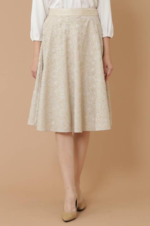 【先行予約 11月上旬入荷予定】フラワーカットジャガードサーキュラースカート《Ravishing Collection》