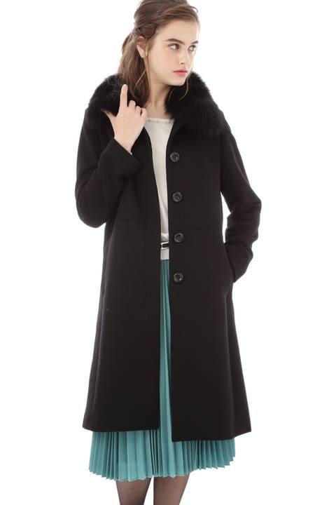ファー付ステンカラーカシミヤ混コート