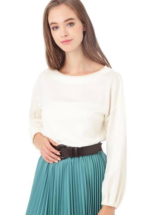 ウール混ボリューム袖カットソー