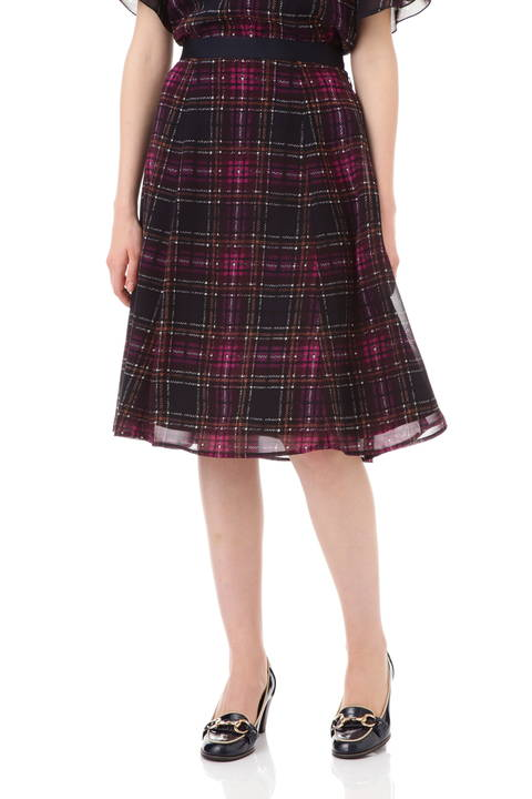 【先行予約 7月上旬入荷予定】チェックプリントフレアースカート