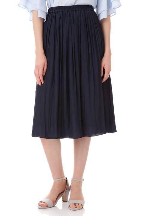 割繊ロングギャザースカート