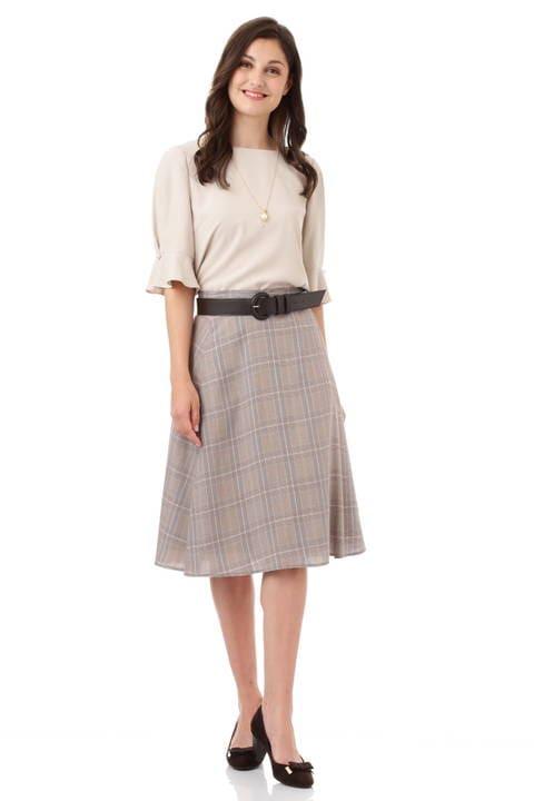 【先行予約 8月上旬 入荷予定】グレンチェックワンタックフレアースカート