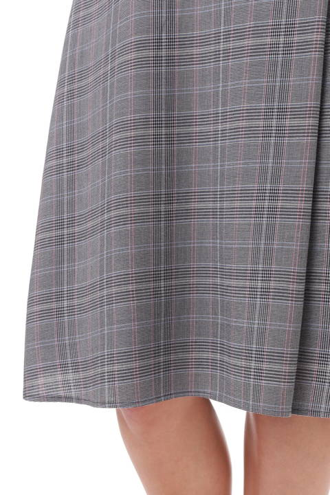 グレンチェックワンタックフレアースカート
