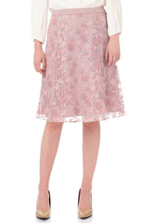 【先行予約 11月上旬入荷予定】チュールフラワー刺繍フレアースカート