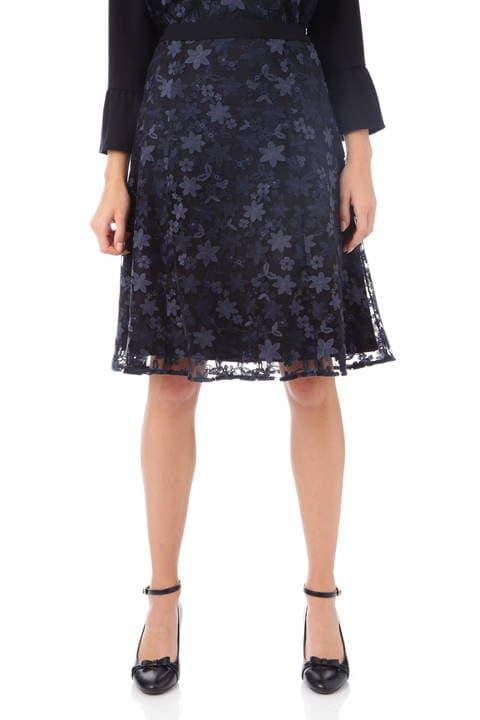 チュールフラワー刺繍フレアースカート