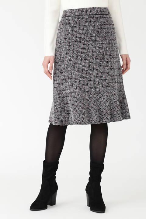 ツイードジャージーチェックプリントペプラムスカート