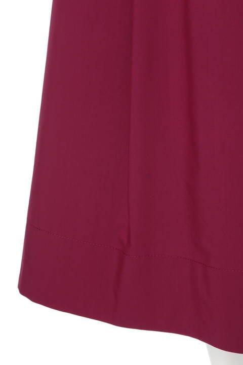 ベルト付ステッチミモレ丈スカート
