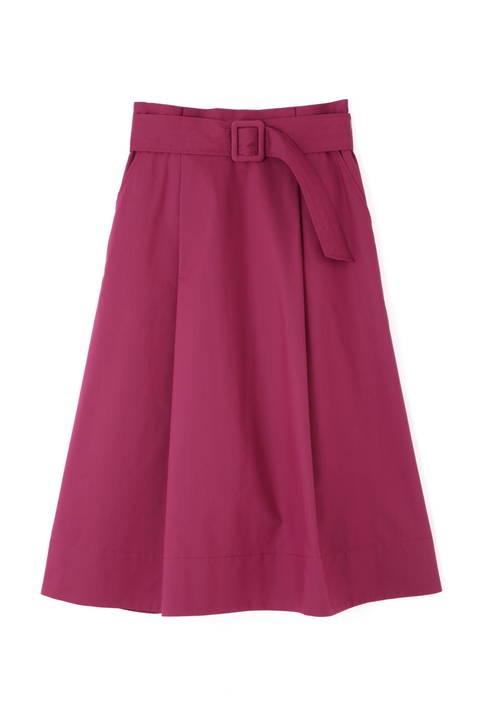 【先行予約 7月上旬入荷予定】ベルト付ステッチミモレ丈スカート