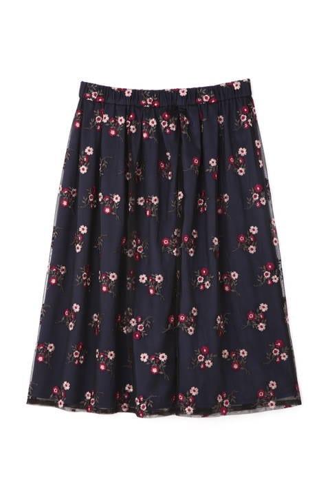 チュールカラー刺繍スカート