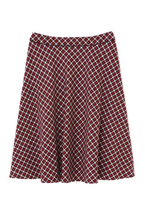 バイアスカラーチェックフレアースカート