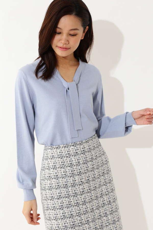 【鈴江奈々さん 斉藤舞子さん着用】ボウタイニット