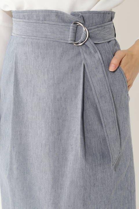 麻混ウェザーストレッチスカート
