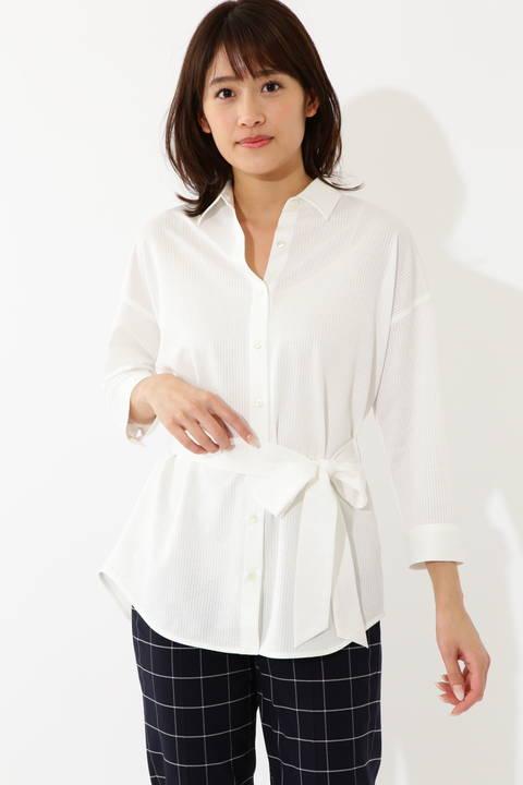 [ウォッシャブル]ジャージーストライプシャツ
