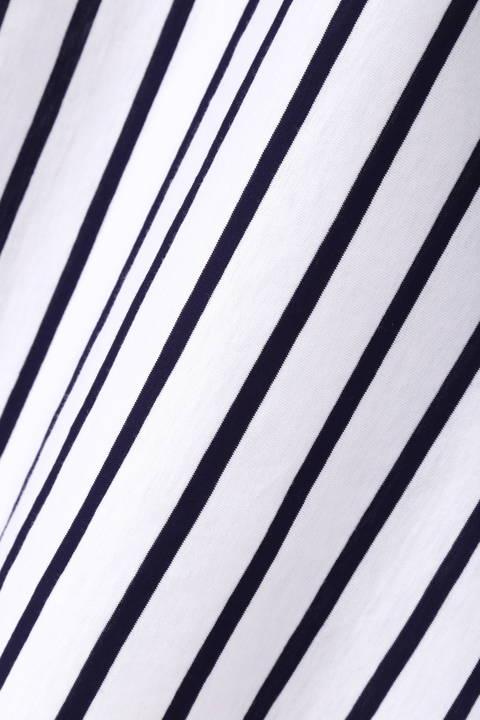 【ドラマ 有村架純さん着用】[ウォッシャブル]コクーンスリーブカットブラウス(ストライプ)