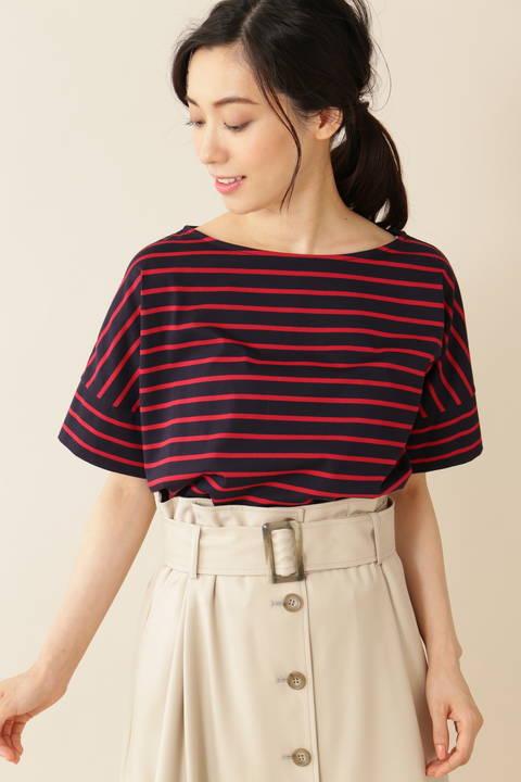 [ウォッシャブル][Weekend Line]クルーネックTシャツ(天竺ボーダー)