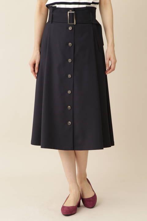 [Weekend Line]TRフロントボタンフレアスカート