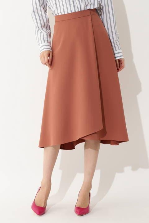 [ウォッシャブル] 【大きいサイズ】ラップフレアスカート