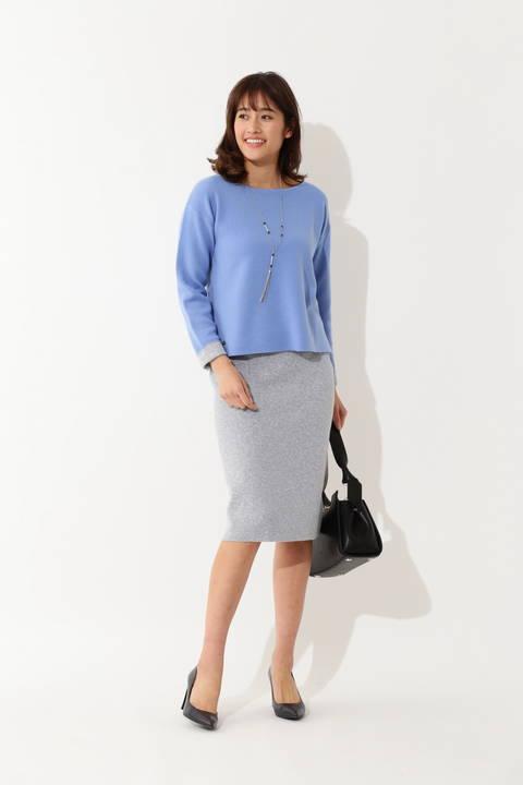 【WEB限定商品】【大きいサイズ】ミックスニットスカート