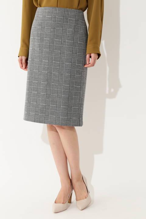 [ウォッシャブル]【大きいサイズ】グレンチェックジャカードスカート