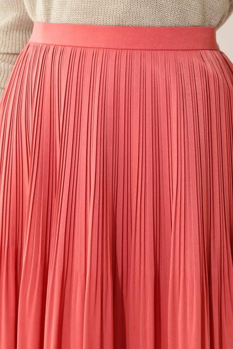 【大きいサイズ】ピーチサテンプリーツスカート