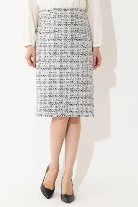 【鈴江奈々さん着用】【大きいサイズ】ミックスツイードスカート