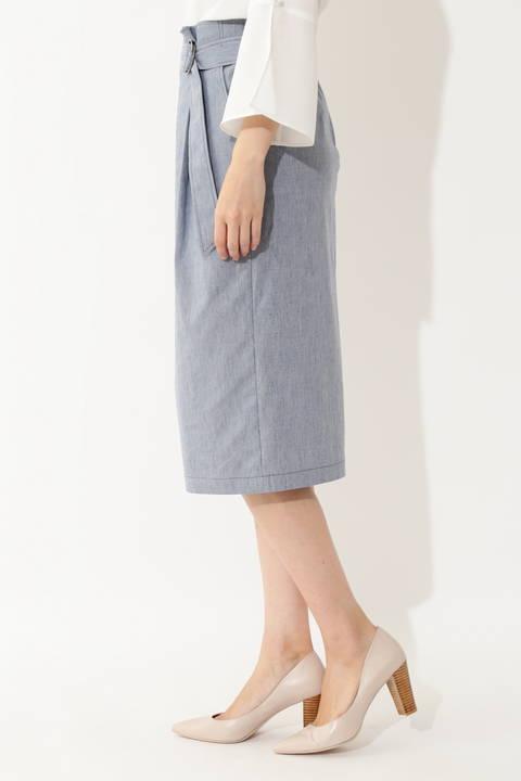 [ウォッシャブル]麻混ウェザーストレッチスカート