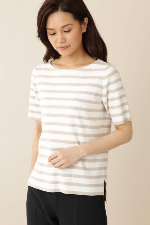 【永島優美さん着用】[TV着用][ウォッシャブル]半袖リブニット