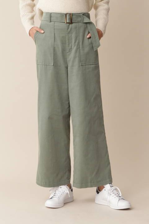 [ウォッシャブル][Weekend Line]シャツコールワイドパンツ