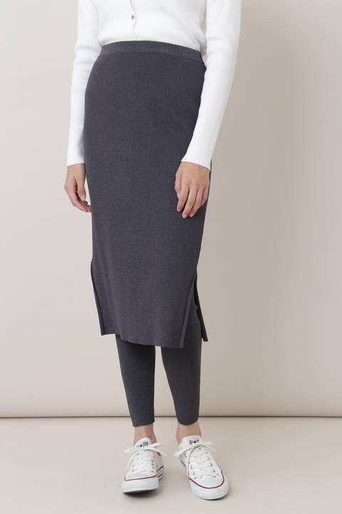 リブニットセット(スカート×レギンス)