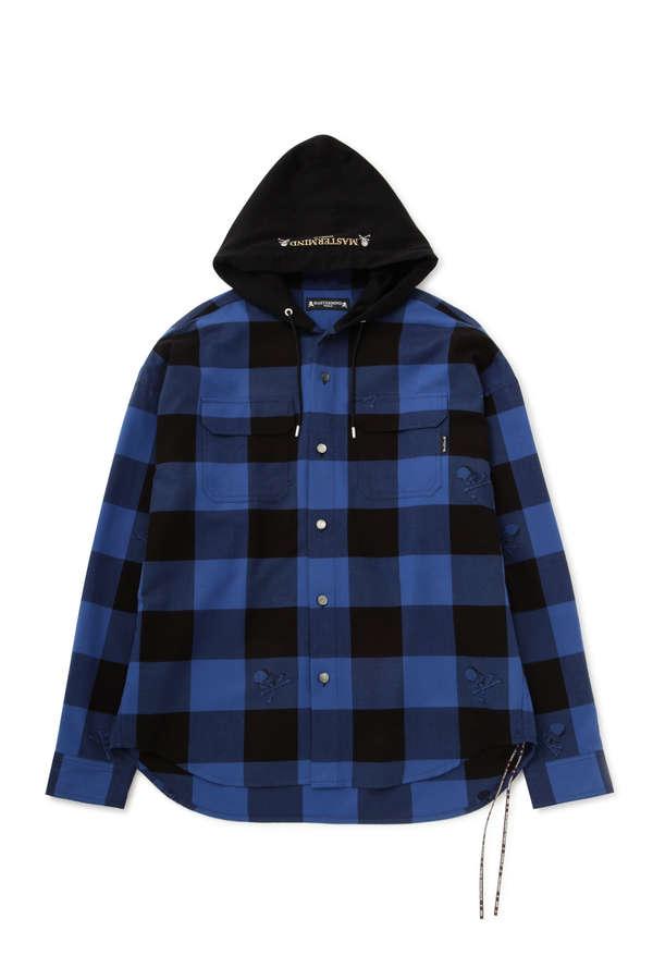 Block Check Hooded Shirt