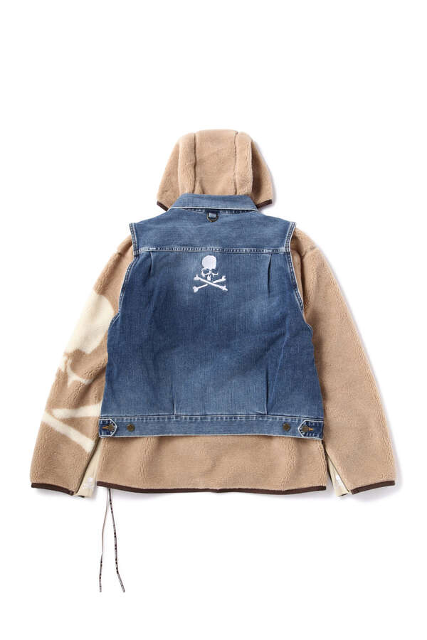 Stretch Denim Hooded Trucker Jacket With Vest