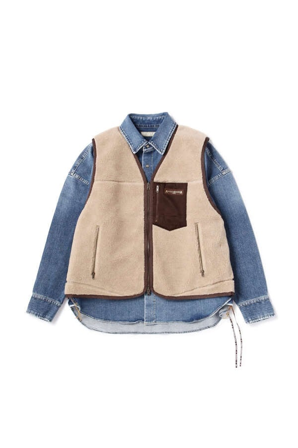 Stretch Denim Shirt With Vest