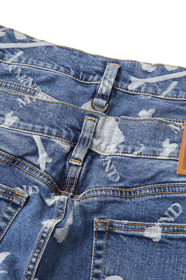 Water Repellent Monogram Denim Pants Buggy Fit