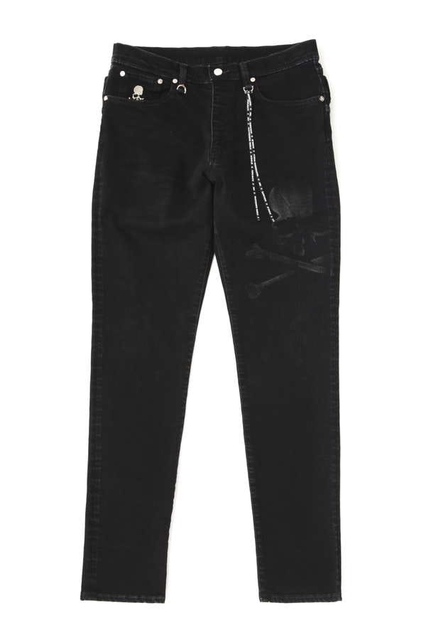 Faded Skull Denim Pant Slim tapered